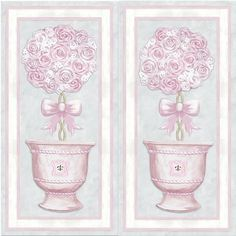 """""""Parisian Princess Topiary I & II"""" Canvas Art For Girls From Dish And Spoon Productions. Lovely Design Is Hand-Embellished With Swarovski Crystals And Fairy Glitter And Shimmers In All Angles Of The Light. Perfect Decor For A Royal Princess Nursery •*¨*•.¸¸✰"""