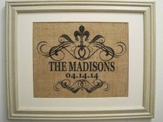 Burlap Monogram Burlap Art Burlap Wedding Gift by SunBeamSigns, $21.00