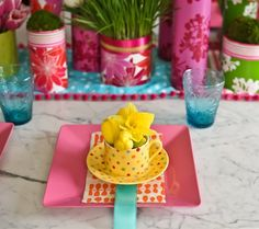 .tropical place setting