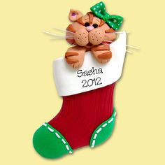 Orange Tabby Christmas KITTY CAT in Stocking HANDMADE Polymer Clay Personalized Christmas Ornament