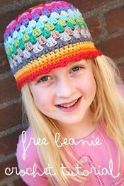 Crochet Rainbow Beanie REVolution Free pattern