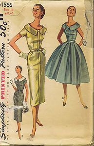 "Vintage 1 PC Dress Sewing Pattern 50s Simplicity 1566 Sz 14 Bust 32 Hip 35"" Cut | eBay"