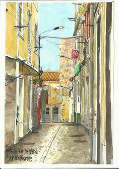 Beco em Setúbal // Alley in Setúbal - Aguarelas // Watercolors