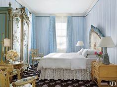At their home in New Orleans, Frances and Rodney Smith's master bedroom is highlighted by a showstopping antique Venetian headboard, which features a ruched-velvet edge. Next Bedroom, Blue Bedroom, Bedroom Decor, Master Bedroom, Bedroom Interiors, Bedroom Ideas, Architectural Digest, Design Studio, House Design