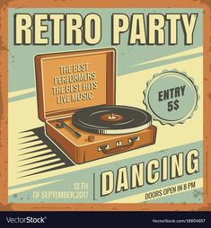 The poster in vintage style on a retro party banner, invitation, flyer, advertising. Vector illustration of retro disco and dance. Old microphone. Other variations you can find in my portfolio. Download a Free Preview or High Quality Adobe Illustrator Ai, EPS, PDF and High Resolution JPEG versions.