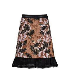 Carven Floral Printed Skirt (5.270.810 VND) ❤ liked on Polyvore featuring skirts, floral skirt, flower print skirt, floral printed skirt, floral knee length skirt and floral print skirt