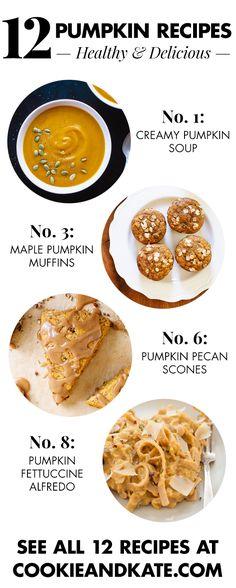 12 pumpkin recipes, from breakfast through dinner! cookieandkate.com