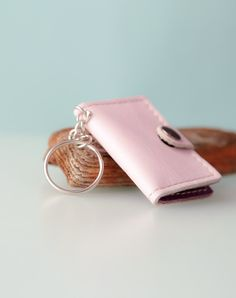 Photo book keychain. Leather key chain. Pink by secondstudio