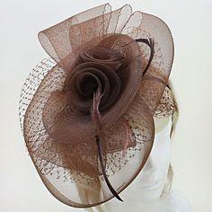 Brown Bow Flower Feather Veil Net FASCINATOR Hat Church Formal Headpiece  #Unbranded
