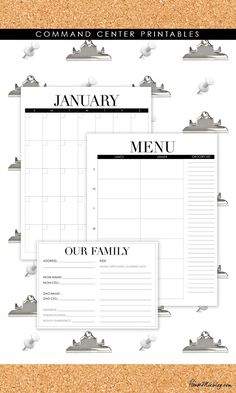 Command center free printables - menus, calendars, babysitter info card.  These are perfect and make being organized so simple.  Love it!