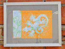 Gecko, Druck, orange, hellblau, Kunstdruck