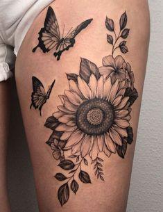Side Leg Tattoo, Wrist Tattoo Cover Up, Leg Sleeve Tattoo, Bicep Tattoo, Colorful Sunflower Tattoo, Sunflower Tattoo Shoulder, Sunflower Tattoos, Sunflower Tattoo Design, Cute Thigh Tattoos