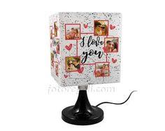 Lampada Quadrata Rotante I love you collage