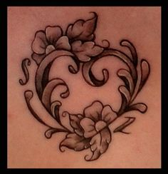 Baroque Filigree Heart And Flowers – Tattoo Picture At CheckoutMyInk