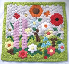 Patchwork Mini Quilt Summer Wild Flowers by MorningPatchwork, $150.00 It's MAY and here's a gorgeous entry into the QQQ Quilt of the Month Contest. #QQQ #EtsyQQQ