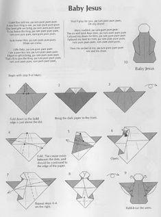 Origami Bag, Origami And Kirigami, Origami Paper, Origami Human, Diy And Crafts, Paper Crafts, Origami Animals, Christmas Nativity, Baby Jesus