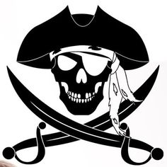 Style & Apply Pirate Wall Decal Wall Sticker, Vinyl Wall Art, Home Decor, Wall Mural - 1883 - Black, x Pirate Tattoo, Pirate Crafts, Pirate Skull, Pirate Life, Jolly Roger, Pirates Of The Caribbean, Hand Painting Art, Vinyl Projects, Vinyl Designs