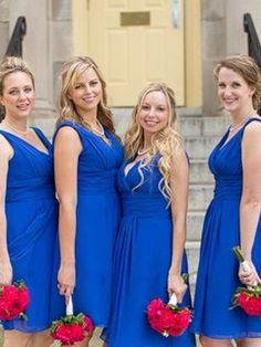 V-neck Chiffon Knee-length Ruffles Noble Royal Blue Bridesmaid Dresses - dressesofgirl.com