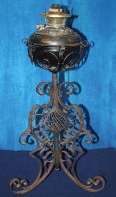 Antique 1896 bradley & hubbard oil / kerosene wrought iron banquet ...