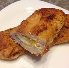 receta facil rollitos de torrija con queso y mermelada naranja