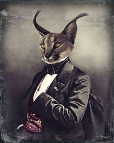 Tête d'Animal Art Print, oreilles de Lynx, chat, animaux sauvages, Fine Art Photography, Steampunk victorien, obsédant, gris, Unique cadeau, « Lex Lynx »