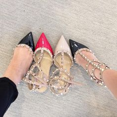 Valentino Garavani Rockstud Pointed Toe T-Strap Pump (Women) Valentino Rockstud Heels, Valentino Shoes, Sandro, Sneaker Heels, Louboutin Shoes, Pointed Toe Pumps, T Strap, Women's Pumps, Me Too Shoes