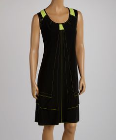 Black & Lime Scoop Neck Dress | something special every day