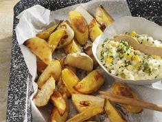 Kohlrabi-und Kartoffelwedges mit Maissalat