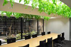 Sala com integração da natureza.