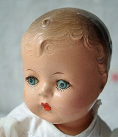 "Vintage Composition Baby Doll 13"" Hard Body Unsigned 
