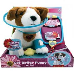 The Amazimals Get Better Puppy Vet Set comes with a stuffed puppy and pretend vet tools to take care of the puppy.