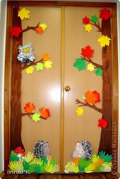 Коллективная работа Аппликация из«ладошек»: Осень в гости к нам пришла. Оформление группы. Бумага, Бумага газетная, Гуашь Праздник осени. Фото 1