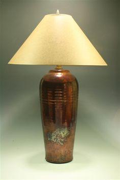 Copper Table Lamp, Blue Spruce, Hue, Pottery, Shades, Elegant, Scene, Beautiful, Fork