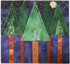 Art Quilt My Love is a Pine Tree by ForQuiltsSake on Etsy, $200.00 Love Pine tree designs for quilts for Christmas.