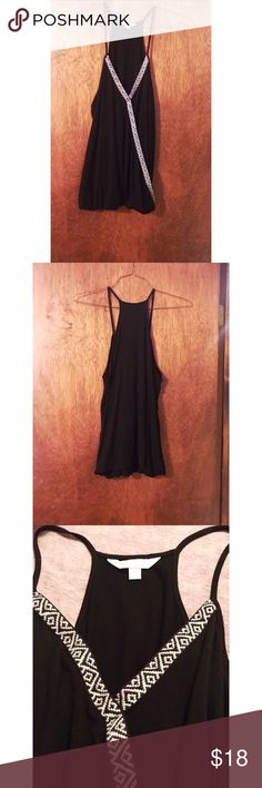 ⚡️FLASH SALE⚡️ Black Aztec Design Tank Black Charming Charlie Sleeveless Top with Aztec design. Size medium but can fit a large well too! In perfect condition. 95% Rayon, 5% Spandex Feel free to ask any questions you may have! Offers welcome too! Charming Charlie Tops