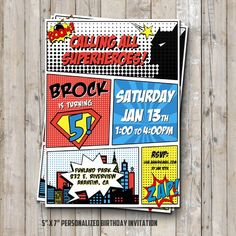 Superhero Birthday Invitation Personalized For Your Party