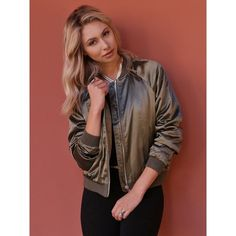 West Coast Wardrobe West Coast Wardrobe Make It Happen Bomber Jacket... ($65) ❤ liked on Polyvore featuring outerwear, jackets, olive, blouson jacket, flight jacket, army green bomber jacket, brown bomber jacket and bomber jacket