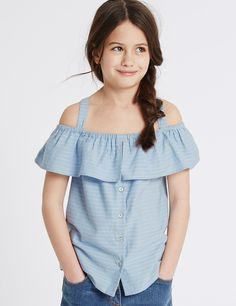 Pure Cotton Striped Top (3-14 Years)