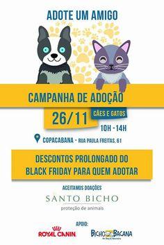 BONDE DA BARDOT: RJ: Campanha de adoção da Santo Bicho acontece em Copacabana, na Pet Bicho Bacana, neste sábado (26/11)