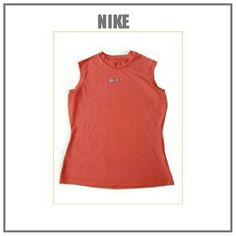 NIKE CORAL COLOR SLEEVELESS TOP CORAL COLOR NIKE SLEEVELESS TOP CREW NECK SZ M Nike Tops Muscle Tees