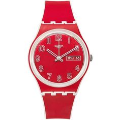 Swatch Unisex Swiss Poppy Field White and Red Silicone Strap Watch... ($60) ❤ liked on Polyvore featuring jewelry, watches, no color, poppy jewelry, poppy jewellery, white jewelry, white wrist watch and swatch wrist watch