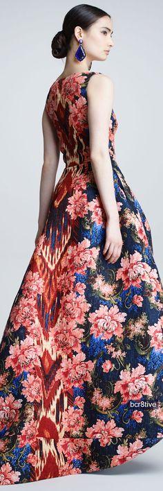 Oscar de la Renta Floral Ikat Jacquard Gown, Navy/Red - Neiman's