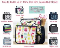 Thirty-One Gifts – Get your Double Duty Caddy now! #ThirtyOneGifts #ThirtyOne #Monogramming #Organization #July2017Special #MixAndMatch #OhSnapBin #MiniZipperPouch #DoubleDutyCaddy #SwapItPocket #GetTheScoopBowls