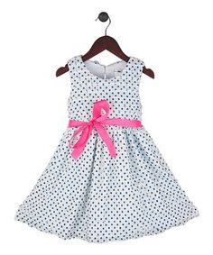 White & Blue Polka Dot A-Line Dress - Toddler & Girls