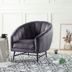 Tub Chair, Decoration, Accent Chairs, Furniture, Home Decor, Rustic Chic, Grey Fabric, Woodwork, Home