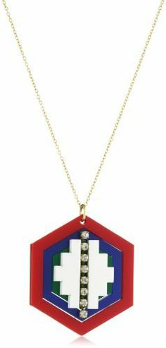 """Sandy Hyun """"Deco Lucite"""" Primary Multi Octagon Pendant Necklace Sandy Hyun. $85.00. Chain is gold plated brass. Made in United States. Handmade in New York. Clean with soft, damp cloth. Red, green, blue and white octagon Lucite pendant with crystal detail"""