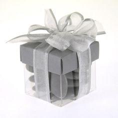 cube drages transparent avec chapeau de couleur grise boite drages mariage - Contenant Dragee Mariage