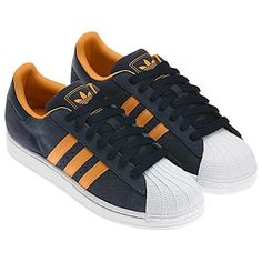 navy and orange with white shell toe adidas