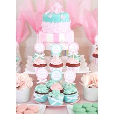 Pink and Tiffany green inspired baby shower dessert table! For diy ideas, recipes & more, follow me @sosweetbites on Instagram!