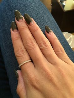 The Nail Boutique - Brooklyn, NY, United States. Heart French with oval tips. The Nail Boutique - Brooklyn, NY, United States. Heart French with oval tips. Minimalist Nails, Nail Swag, French Nails, Hair And Nails, My Nails, Nails Inc, Gold Nails, Nagellack Design, Colorful Nail